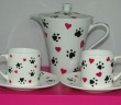 Coffee Pot and Two Cups Set from our Hearts & Paws Collection