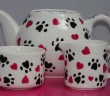 Teapot, Milk Jug and Sugar Bowl from our Hearts & Paws Collection