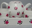 Teapot, Milk Jug and Sugar Bowl with matching tray from our Hearts & Paws Collection
