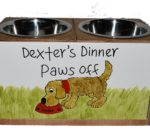 Double Wooden Raised Dog Bowl Stand