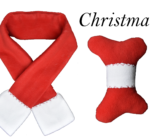 Doggy Scarf & Toy Set Red & White Christmas